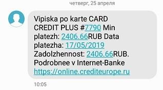 КЕБ выписка по кредитной карте