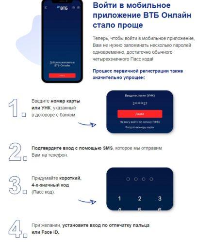 Первый вход в приложение ВТБ онлайн